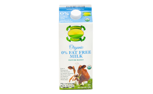 Sunshine Farms Organic 0% Fat Free Milk