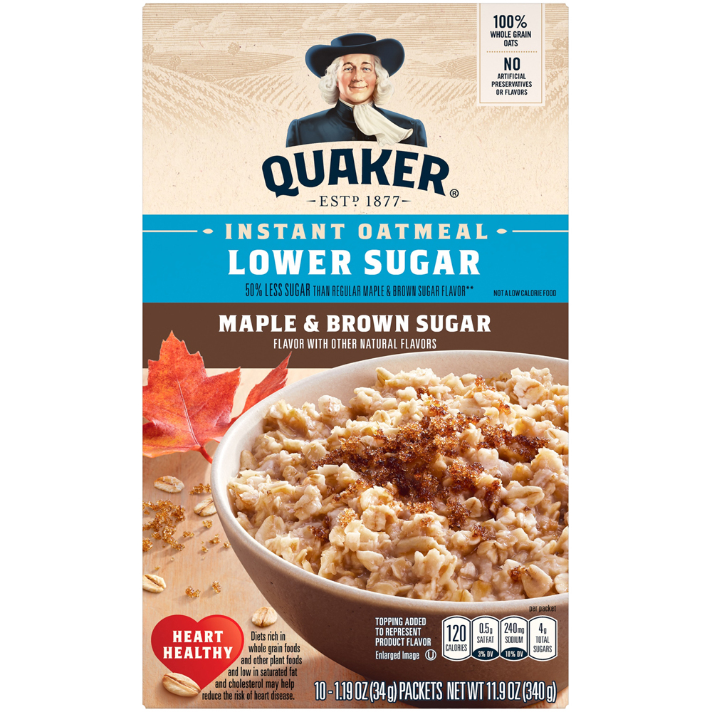 Quaker Instant Oatmeal Maple & Brown Low Sugar
