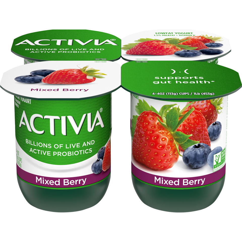 Dan Activia 4Pk Mixed Berry
