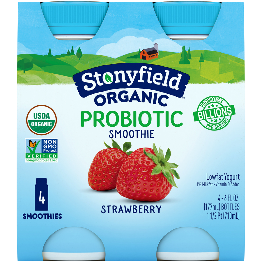 Stonyfield 4Pk Smoothie Strawberry