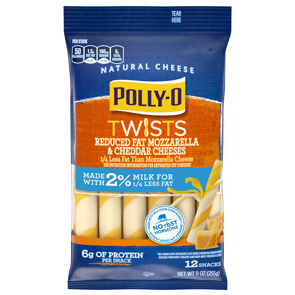 Polly-o Twist String Mozzarella and Cheddar 2%
