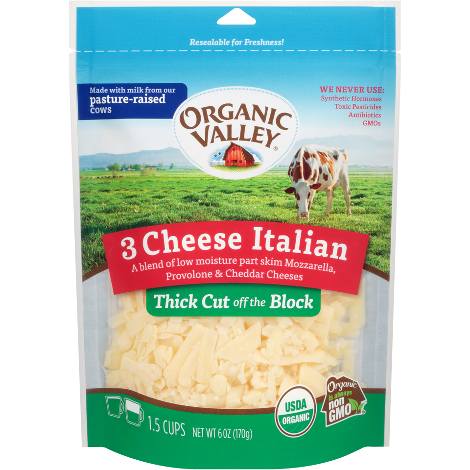 Organic Valley Thick Shred 3 Cheese Italian